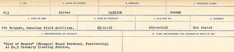 Circumstances of Death Registers– Source: Library and Archives Canada.  CIRCUMSTANCES OF DEATH REGISTERS, FIRST WORLD WAR Surnames:  CLEAL TO CONNOLLY.  Microform Sequence 21; Volume Number 31829_B016730. Reference RG150, 1992-93/314, 165.  Page 325 of 1384.