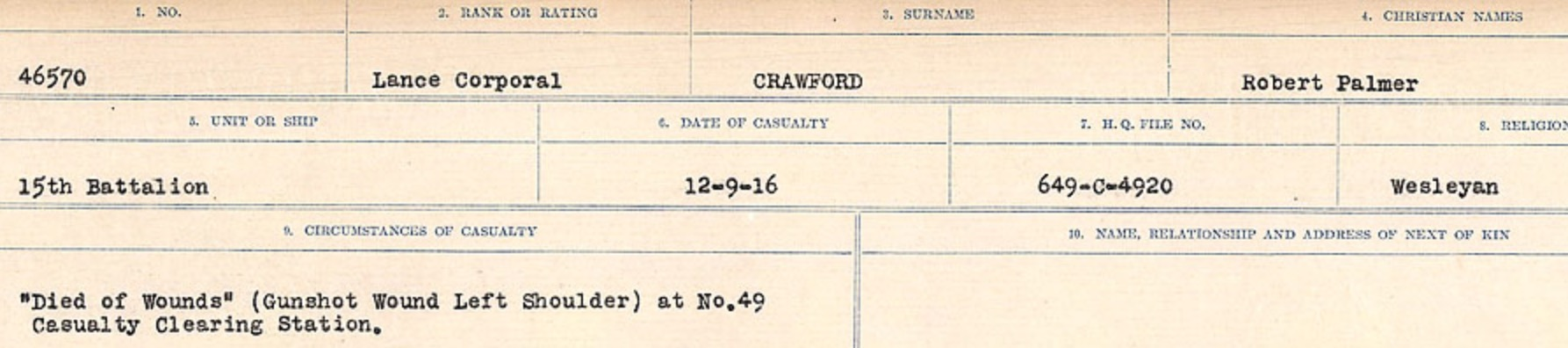 Circumstances of death registers– Source: Library and Archives Canada. CIRCUMSTANCES OF DEATH REGISTERS, FIRST WORLD WAR Surnames: CRABB TO CROSSLAND Microform Sequence 24; Volume Number 31829_B016733. Reference RG150, 1992-93/314, 168. Page 389 of 788.