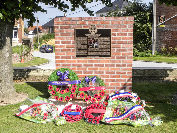 Memorial– 15th Bn (48th Highlanders of Canada) memorial located in the village of Courcelette, France.  This memorial commemorates all members of the unit who fell during the Somme offensive of 1916 and in particular describes the actions on 26 September during the Battle of Theipval Ridge.  Submitted by 15th Bn Memorial Project Team.  DILEAS GU BRATH