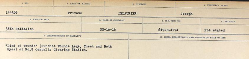 Circumstances of death registers– Source: Library and Archives Canada. CIRCUMSTANCES OF DEATH REGISTERS, FIRST WORLD WAR. Surnames: Davy to Detro. Microform Sequence 27; Volume Number 31829_B016736. Reference RG150, 1992-93/314, 171. Page 523 of 1036.