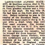 Newspaper Clipping– Alfred Hackett was born in Sheffield, England.