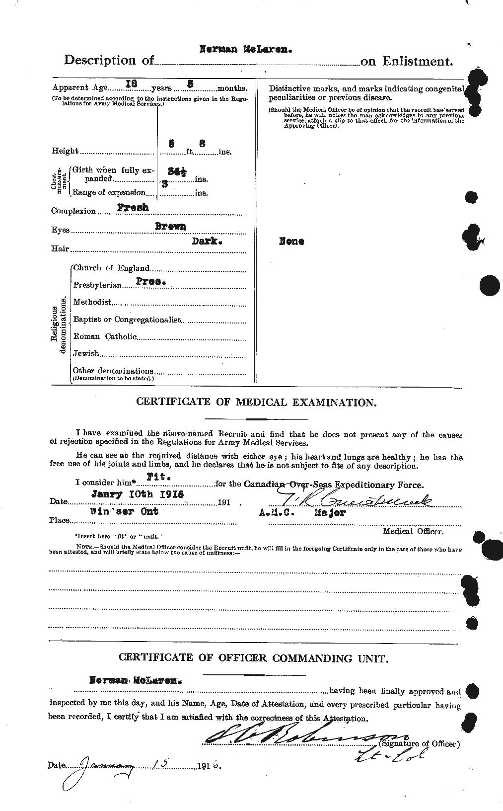 Attestation Paper (page 2)– Source Library and Archives Canada Soldiers of the First World War.