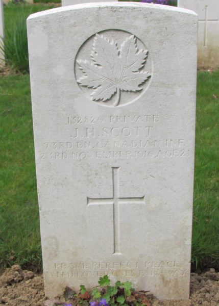 Grave Marker– James Hush Scott, Contay British Cemetery, France  Photo by Ken Riley