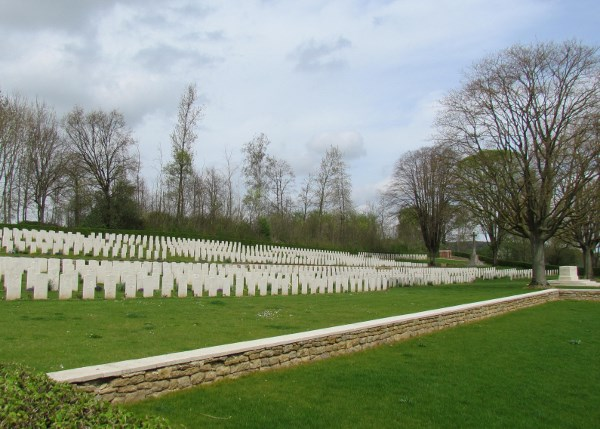Cemetery– J. Scott and comrades, Contay British Cemetery, France.  Photo by Ken Riley