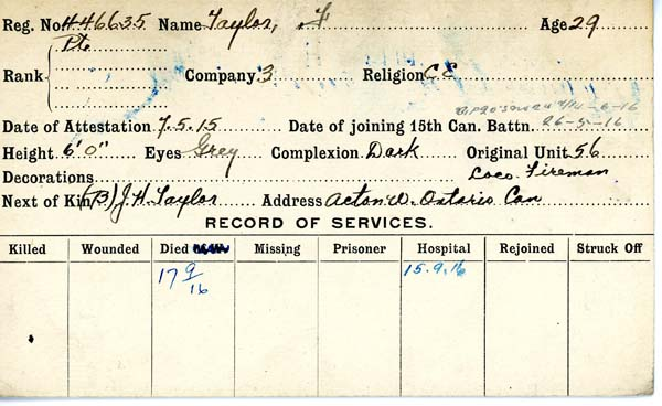 Record of Service– Record of Service Card (front side).  Submitted by 15th Bn Memorial Team.  DILEAS GU BRATH
