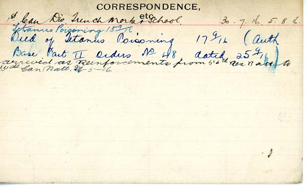 Record of Service– Record of Service Card (reverse side).  Submitted by 15th Bn Memorial Team.  DILEAS GU BRATH