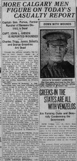 Newspaper clipping– THE CALGARY DAILY HERALD MONDAY OCTOBER 16 1916.