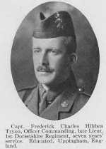 """Photo of Frederick Charles Hilbers Tryon– Photo taken from """"A Short History and Photographic Record of the 73rd Battalion, Canadian Expeditionary Force, Royal Highlanders of Canada"""" .  Page 8.  OFFICERS OF 'C' COMPANY"""