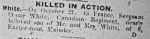 Newspaper Clipping– Obituary from the South Wales Argus, Newport, Monmouthshire, UK, published at the time of death. (http://www.newportsdead.shaunmcguire.co.uk)