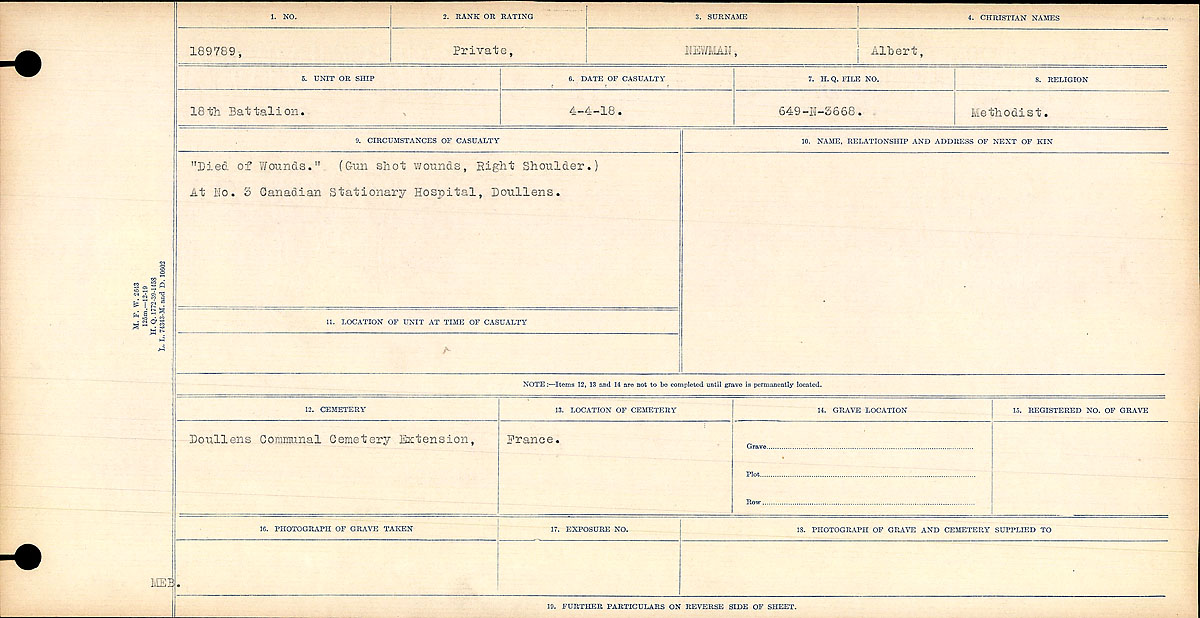 """Circumstances of Death Registers– Circumstances of Death Register: """"Died of Wounds."""" (Gun shot Wounds, Right Shoulder.) No. 3 Canadian Stationary Hospital, Doullens."""
