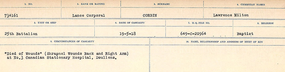 Circumstances of Death Registers– Source: Library and Archives Canada.  CIRCUMSTANCES OF DEATH REGISTERS, FIRST WORLD WAR Surnames:  CORBI TO COZNI.  Microform Sequence 23; Volume Number 31829_B016732. Reference RG150, 1992-93/314, 167.  Page 35 of 900.