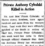 Newspaper Clipping– From the Renfrew Mercury for 10 May 1918.