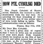 Newspaper Clipping 3– From the Renfrew Mercury for 14 June  1918.