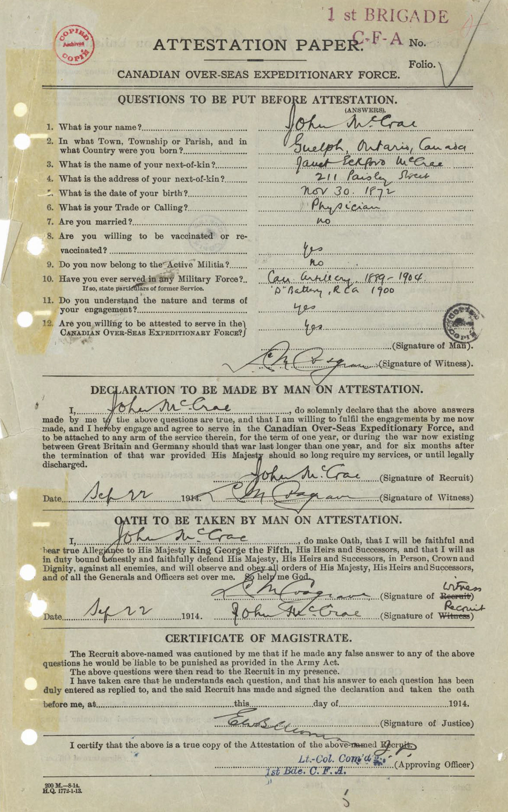 Attestation Paper (front)– Lieutenant Colonel John McCrae was born in Guelph, Ontario, on November 30, 1872.