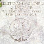 Grave marker– John McCrae's Grave in France.