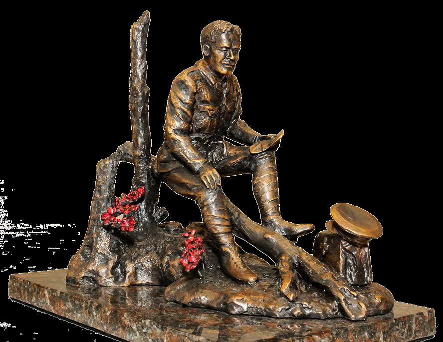 Statue– A sculpture of Lieutenant-Colonel John McCrae, by Ruth Abernathy, was unveiled at Green Island, Ottawa, Ontario in May 2015. A copy was erected at the Guelph Civic Museum in Guelph, Ontario in 2015. The sculpture is of Lieutenant-Colonel John McCrae, with his dress as an Artillery officer and his medical bag nearby, as he writes. The statue shows the destruction of the battlefield and, at his feet, the poppies which are a symbol of Remembrance of World War I and all armed conflict since.