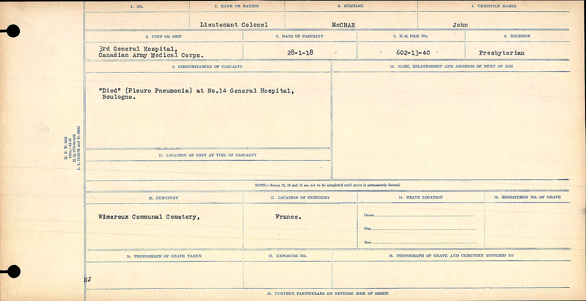 Circumstances of Death Registers– Circumstances of Death- Lieutenant Colonel John McCrae