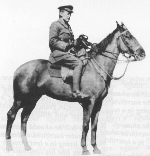 Bonfire– John McCrae with his horse Bonfire, (photo: McCrae House).   In France, he took with him a horse named Bonfire, a gift from a friend.  Later, John McCrae sent his young nieces and nephews letters supposedly written by Bonfire and signed with a hoof print.