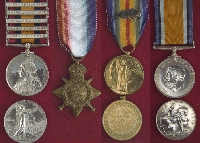 Medals– Left to right: Queen's South Africa Medal with Clasps, 1914-15 Star,  Victory Medal, British War Medal.  The medals shown in this picture are from the Canadian Military Medals and Decorations section of the Veterans Affairs Canada website.
