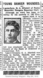 Newspaper Clipping– Gordon Ashford Mitchell enlisted in the First Canadian Contingent at Valcartier Camp, Quebec, on September 23rd, 1914.  He was born in Sarnia, Ontario.