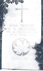 Grave marker– Grave marker of Private Gordon Ashford Mitchell. (Courtesy of 'So Far From Home, Armstrong's Fallen of the Great War', Leonard J. Gamble, Author)