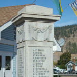 Merritt War Memorial– War Memorial, Merritt and Nicola Valley District, British Columbia.    The Cenotaph was unveiled on November 6th, 1921.  There are 44 names on three sides of the memorial representing those men who died during World War One.   A panel was added at a later date to include 18 names of local men who died in World War Two.  Inscribed:  IN HONOUR OF THE MEN OF MERRITT AND THE NICOLA VALLEY DISTRICT / OUR WELL BELOVED DEAD WHO DIED THAT WE MIGHT LIVE / GREATER LOVE HATH NO MAN THAN THIS, THAT A MAN LAY DOWN HIS LIFE FOR HIS FRIENDS.