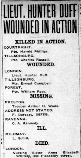 Newspaper clipping– From the London Free Press April 1918. Submitted for the project Operation Picture Me