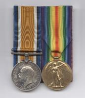 Medals– British War Medal and Victory Medal awarded posthumously to George Lawrence Price. The Price family of Port Williams NS, donated his medals and plaque to the Kentville branch of the Royal Canadian Legion in the 1960's or 70's. In July 2016, the Kentville Legion, with the support of Price's descendants, donated these artifacts to the Canadian War Museum in Ottawa where they now appear as part of the First World War Gallery.