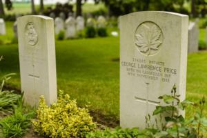 Grave Marker– George Lawrence Price gravestone in Saint Symphorien Military Cemetery in Mons, Belgium. Price was initially buried in the village of Havré near Mons, in the Havre Old Communal Cemetery and later transferred to his final resting place.