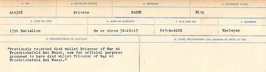 Circumstances of Death Registers– Source: Library and Archives Canada.  CIRCUMSTANCES OF DEATH REGISTERS, FIRST WORLD WAR Surnames:  Babb to Barjarow. Microform Sequence 5; Volume Number 31829_B016715. Reference RG150, 1992-93/314, 149.  Page 443 of 1072.