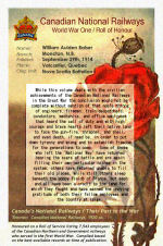 """Roll of Honour– Canadian National Railways - World War One Roll of Honour.  Pte. William Aulden Balser enlisted with the first Canadian Contingent in September 1914 at Valcartier, Quebec.  He listed his occupation as """"Car Cleaner""""."""