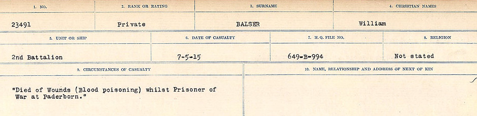 Circumstances of Death Registers– Source: Library and Archives Canada.  CIRCUMSTANCES OF DEATH REGISTERS, FIRST WORLD WAR Surnames:  Babb to Barjarow. Microform Sequence 5; Volume Number 31829_B016715. Reference RG150, 1992-93/314, 149.  Page 815 of 1072.