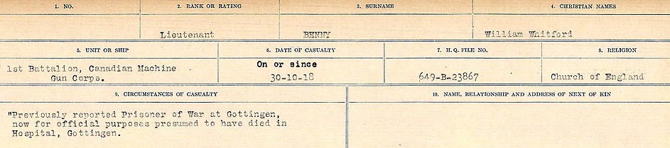 Circumstances of Death– Source: Library and Archives Canada.  CIRCUMSTANCES OF DEATH REGISTERS FIRST WORLD WAR Surnames:  Bell to Bernaquez.  Mircoform Sequence 8; Volume Number 31829_B016718; Reference RG150, 1992-93/314, 152 Page 525 of 670