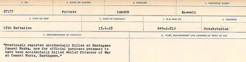 Circumstances of Death Registers– Source: Library and Archives Canada.  CIRCUMSTANCES OF DEATH REGISTERS, FIRST WORLD WAR Surnames:  Canavan to Caswell. Microform Sequence 18; Volume Number 31829_B016727. Reference RG150, 1992-93/314, 162.  Page 619 of 1004.