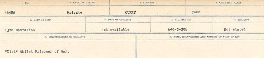 Circumstances of death registers– Source: Library and Archives Canada. CIRCUMSTANCES OF DEATH REGISTERS, FIRST WORLD WAR Surnames: Crossley to Cyrs. Microform Sequence 25; Volume Number 31829_B016734. Reference RG150, 1992-93/314, 169. Page 685 of 890. His Service Number is 46986, not 4693.