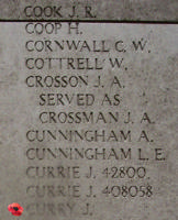 Memorial– Inscription on the Menin Gate … Private John Curry is also commemorated on Panel 24-26-28-30 of the Menin Gate ...photo courtesy of Marg Liessens