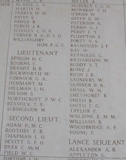 Inscription– George William Offen 10th May 1915 4th B.N Canadian Rifle Brigade Menin Gate Memorial