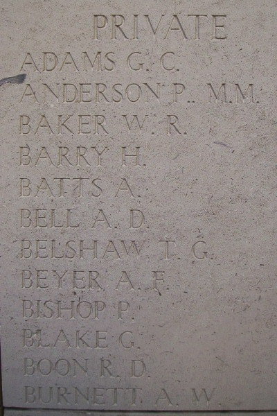 Inscription on Menin Gate– Inscription on the Menin Gate, photo courtesy of Marg Liessens.