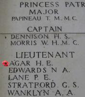 Memorial– Inscription on the Menin Gate … Lieutenant Harold Edward Agar is also commemorated on the Menin Gate, Belgium ... photo courtesy of Marg Liessens