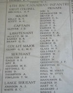 4th Bn casualties on Menin Gate Memorial.– Photo courtesy of Wilf Schofield, England.