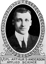 Photo of Arthur Anderson– From: The Varsity Magazine Supplement published by The Students Administrative Council, University of Toronto 1918. 