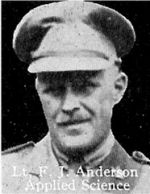 Photo of Frederick Anderson– From: The Varsity Magazine Supplement published by The Students Administrative Council, University of Toronto 1916.  