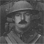 Photo of Percival William– Captain (later Major) Percival William Anderson, MC (Vimy). Cropped from a vintage outdoor group portrait of original officers of the 85th Battalion CEF, circa October 1916-February 1917.