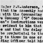 War Diary Page 11– Battalion's War Diary that tells the reader what Major Anderson's actions were.