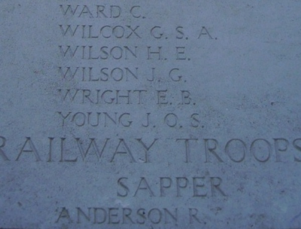 Photo of ROY WILLIAM ANDERSON– Inscription on the Menin Gate … photo courtesy of Marg Liessens