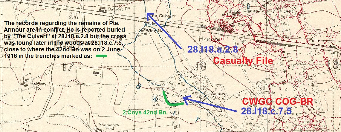 """Map– Trench Map extract from the Imperial War Museum showing where it was reported Private Armour was buried on 2 June 1916  versus where the cross was found by the Graves Registration Unit on 1 September 1926. The physical remains may not have been found where the cross was erected on the trenches in the south of the woods if he was buried near """"The Culvert"""" to the north of the woods. Images of the Death Records and the Exhumation Records are provided as marked."""