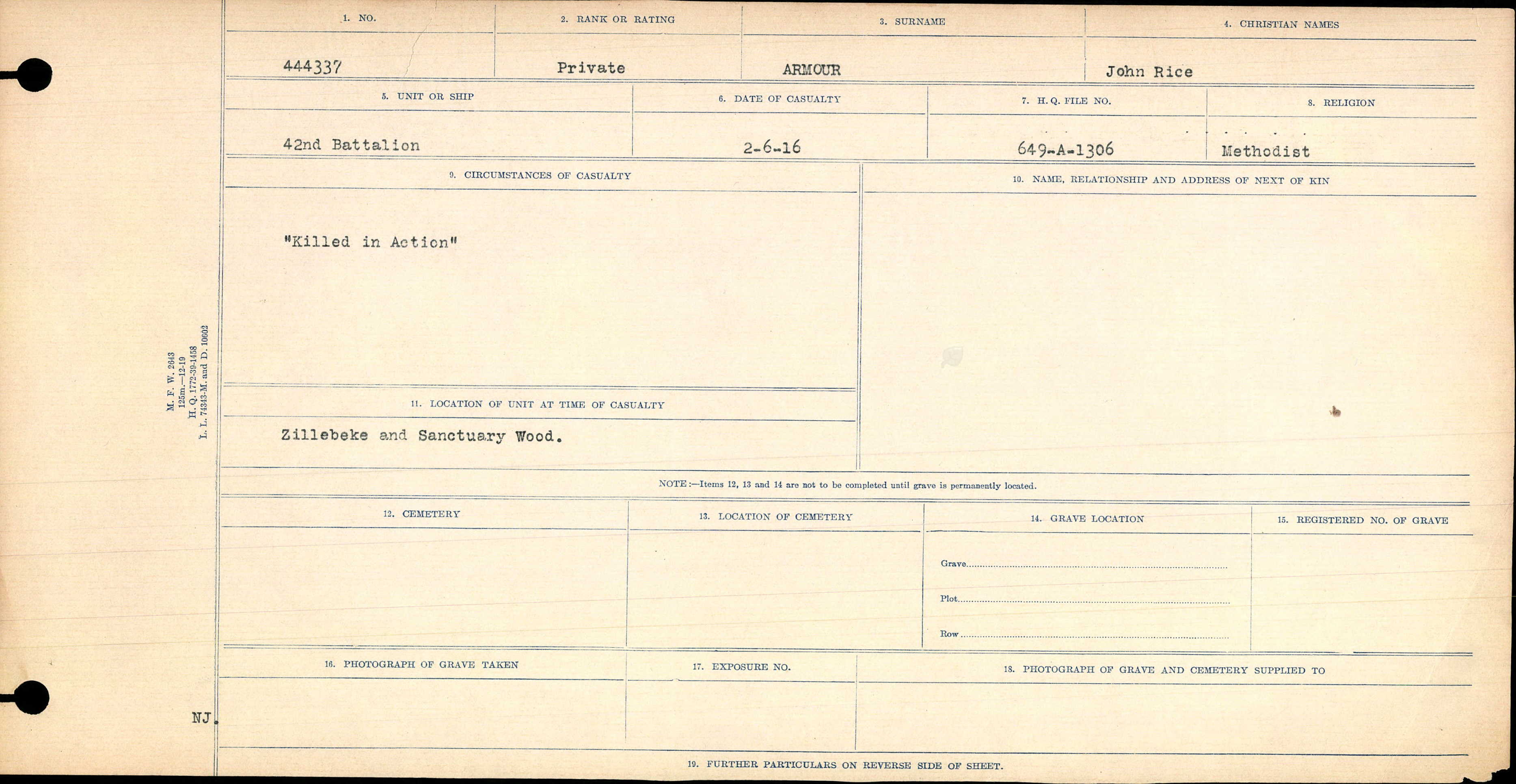 """Circumstances of Death Registers– Front of """"Circumstance of Death"""" file describing the fate of Private Amour."""