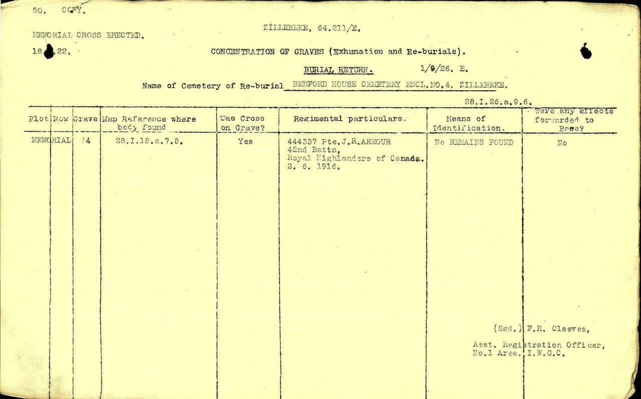 Concentration of Graves file– Concentration of Graves file from the Graves Registration Unit prepared when the area where the cross was found was checked on 1 September 1926. No remains were found at this location.