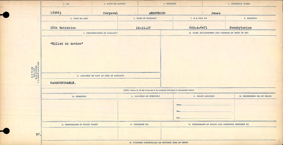 """Circumstances of Death Registers– Circumstances of Death Register: """"Killed in Action"""""""