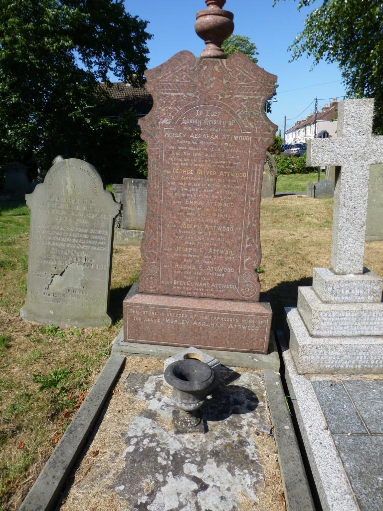 Memorial– Attwood family grave and memorial to Morley Abraham Attwood at Christ Church, Hanham, England